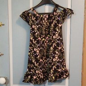 Girls cold shoulder floral dress